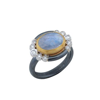 Oxidized Sterling Silver, 24K, and White Gold Rainbow Moonstone Ring with Diamonds