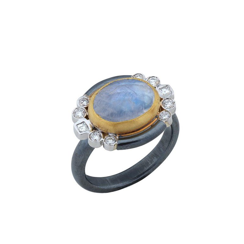 Lika Behar Collection Oxidized Sterling Silver, 24K, and White Gold Rainbow Moonstone Ring with Diamonds