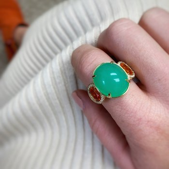 Yellow Gold Chrysoprase and Mandarin Garnet Ring