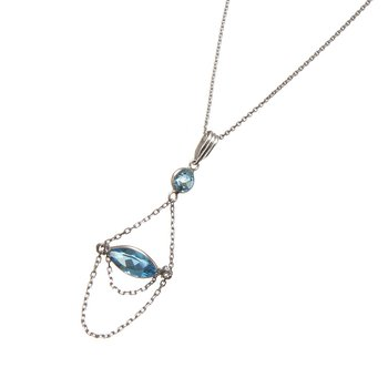 White Gold Blue Topaz Hanging Chain Pendant
