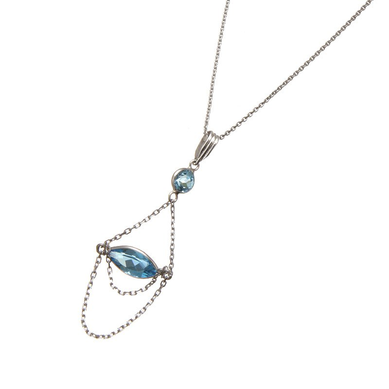 Devon Fashion White Gold Blue Topaz Hanging Chain Pendant