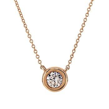 Rose Gold Bezel Set Diamond Solitaire Necklace