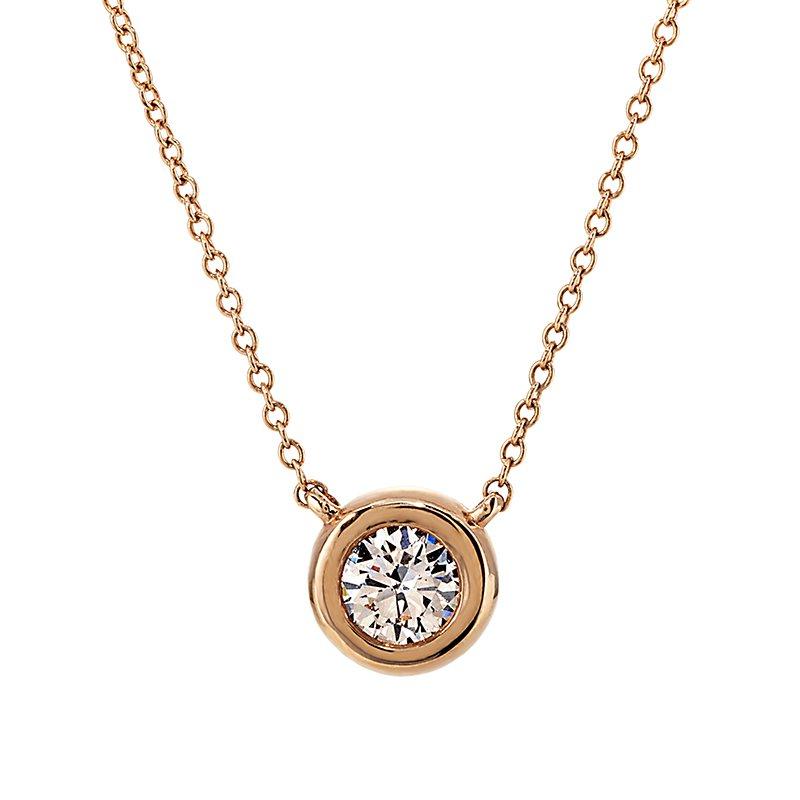 Devon Fashion Rose Gold Bezel Set Diamond Solitaire Necklace