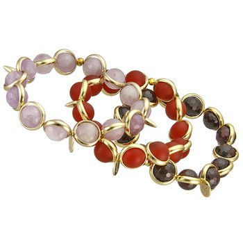 Amethyst, Carnelian, and Garnet Stretch Bracelets