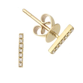 Yellow Gold Diamond Staple Earrings