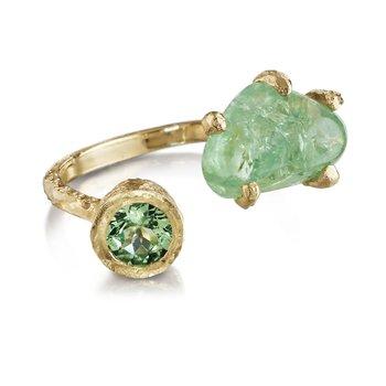 Sharing The Rough Yellow Gold Mint Green Garnet Bypass Ring