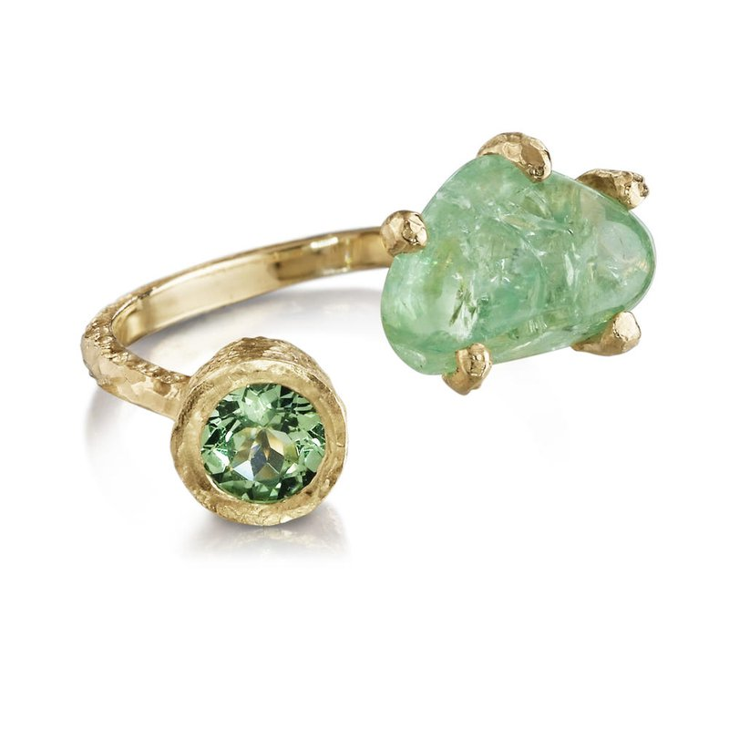 Sharing The Rough Jewelry Collection by Parle Sharing The Rough Yellow Gold Mint Green Garnet Bypass Ring