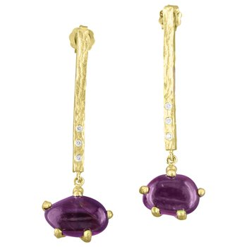 Sharing The Rough Yellow Gold Purple Garnet Bar Drop Earrings