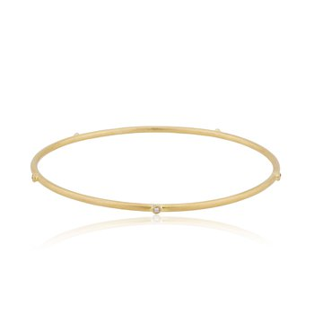 22K Gold Thin Bangle with Diamonds