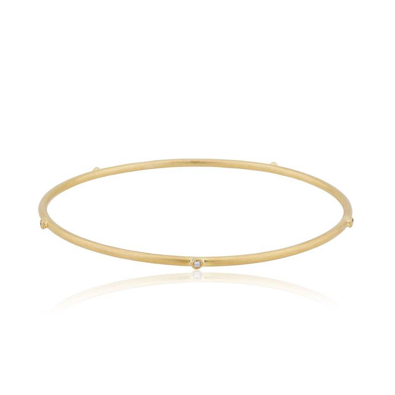 Lika Behar Collection 22K Gold Thin Bangle with Diamonds