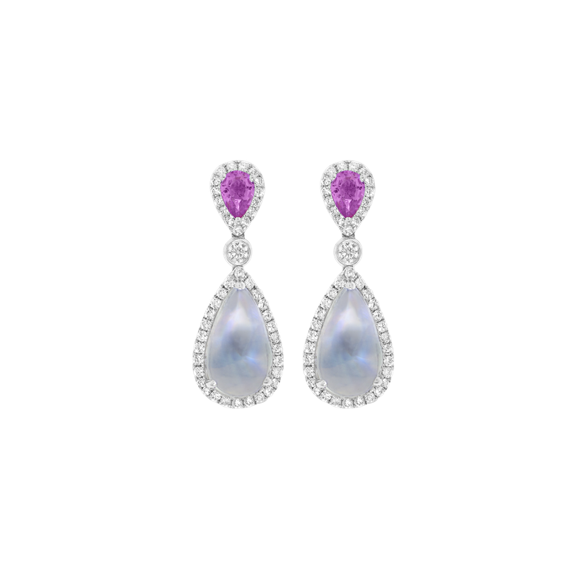 Spark Creations White Gold Pink Sapphire and Moonstone Earrings