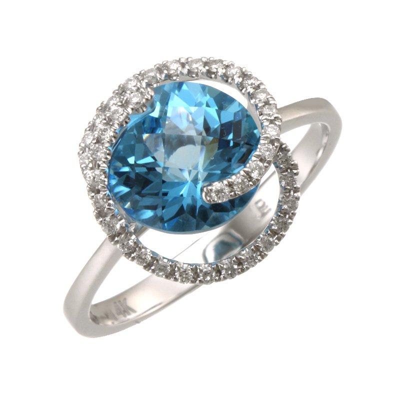 Devon Fashion White Gold Blue Topaz and Diamond Swirl Ring