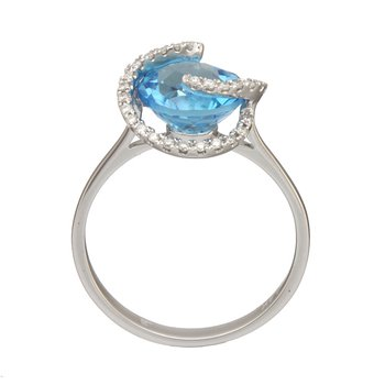 White Gold Blue Topaz and Diamond Swirl Ring
