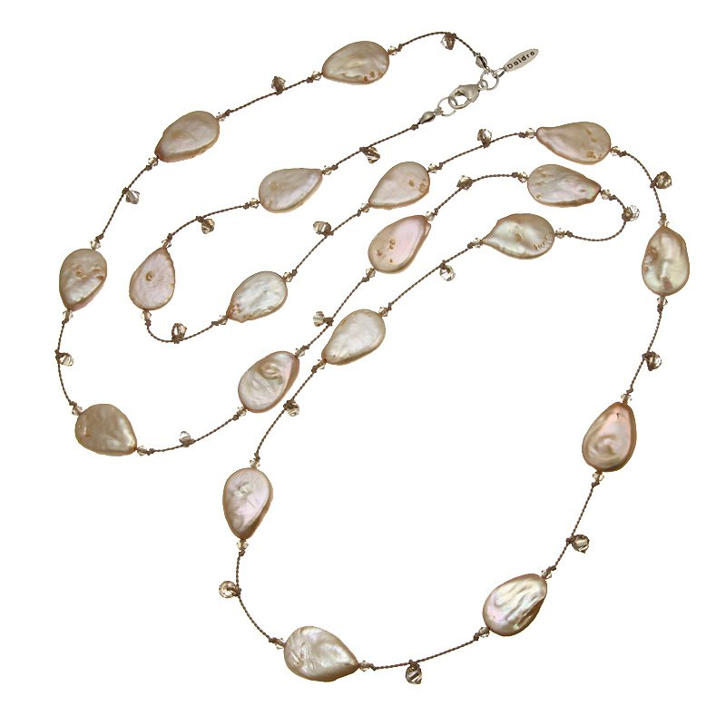 Daidra Designs Long Silk Necklace with Coin Pearls and Crystal Beads