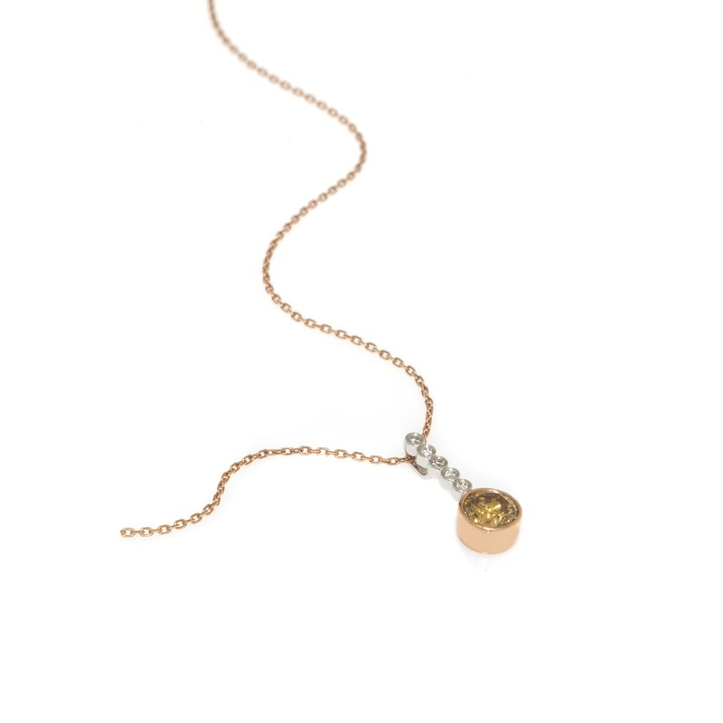 Devon Original White and Rose Gold Cognac Diamond Pendant
