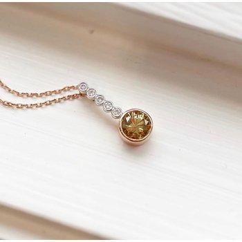 White and Rose Gold Cognac Diamond Pendant
