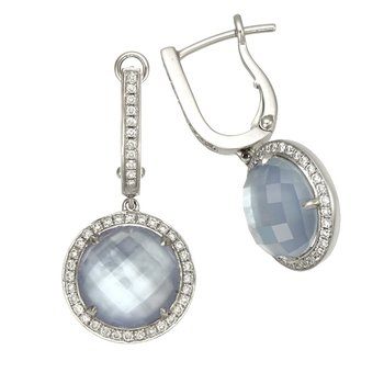 White Gold White Topaz, Mother of Pearl, and Lapis Triplet Earrings