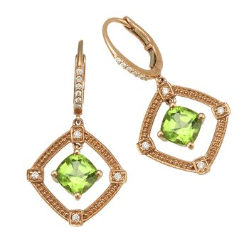 Rose Gold Peridot and Diamond Earrings