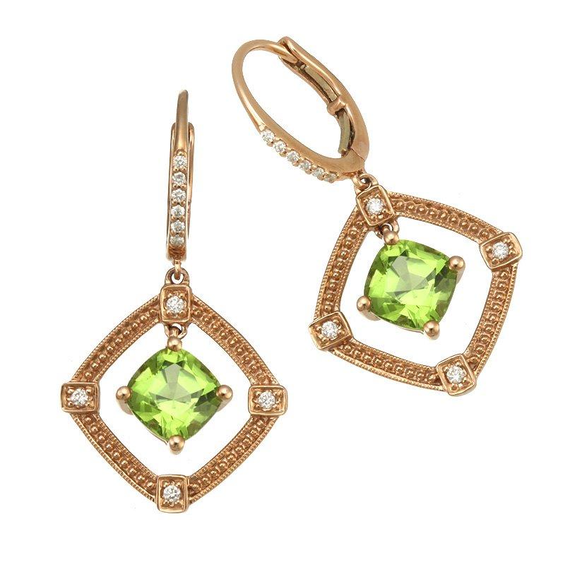 Devon Original Rose Gold Peridot and Diamond Earrings