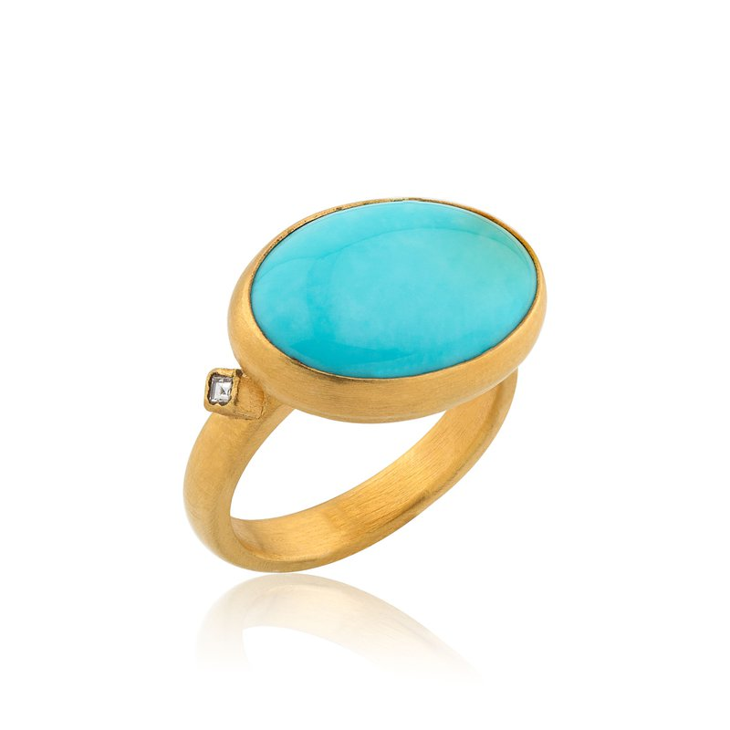 Lika Behar Collection 22K Gold Cabochon Turquoise Ring with Diamonds