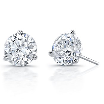 White Gold 3-Prong Martini Style Setting Diamond Studs