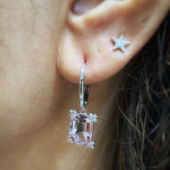 White Gold Morganite and Diamond Earrings