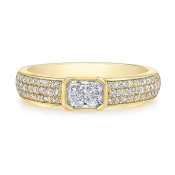 Yellow Gold Pave Diamond Ring with Center Radiant Diamond