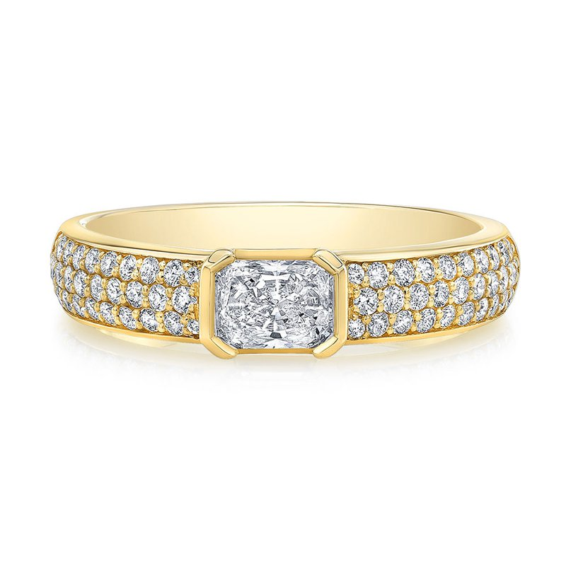 Norman Silverman Yellow Gold Pave Diamond Ring with Center Radiant Diamond