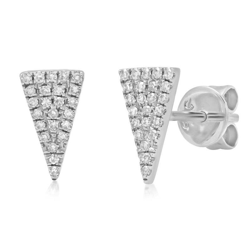 Shy Creation 14k White Gold Triangle Earrings