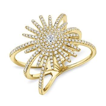 14k Yellow Gold Starburst Ring