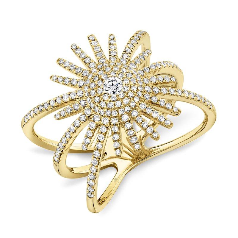 Shy Creation 14k Yellow Gold Starburst Ring