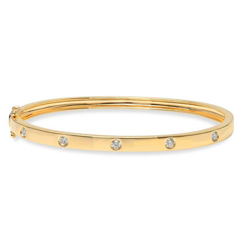 Shy Creation 14k Yellow Gold Bangle Bracelet
