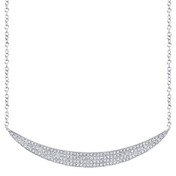 14k White Gold Crescent Necklace