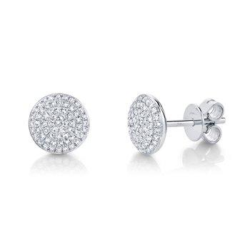 14k White Gold Disc Earrings
