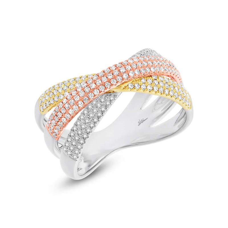 Shy Creation 14k Tri-Color Gold Crossover Band