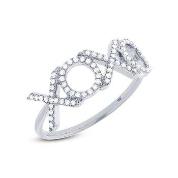 """14k White Gold """"XO"""" Ring"""