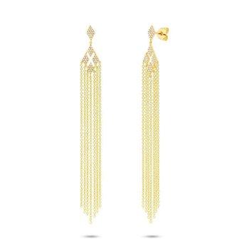14k Yellow Gold Chain Dangle Earrings