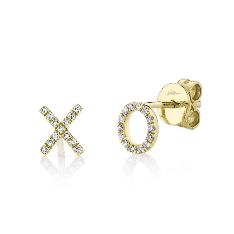 """Shy Creation 14k Yellow Gold """"XO"""" Earrings"""