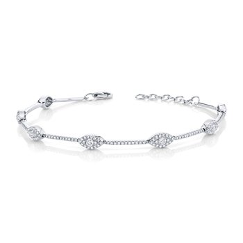 14k White Gold Eye Bracelet