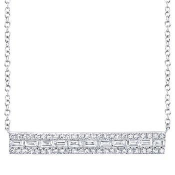 14k White Gold Bar Necklace