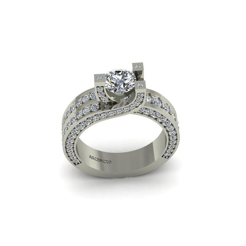 Ascencio Designs Modern Diamond Engagement Ring