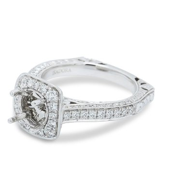 Square Halo Engagement Ring Setting