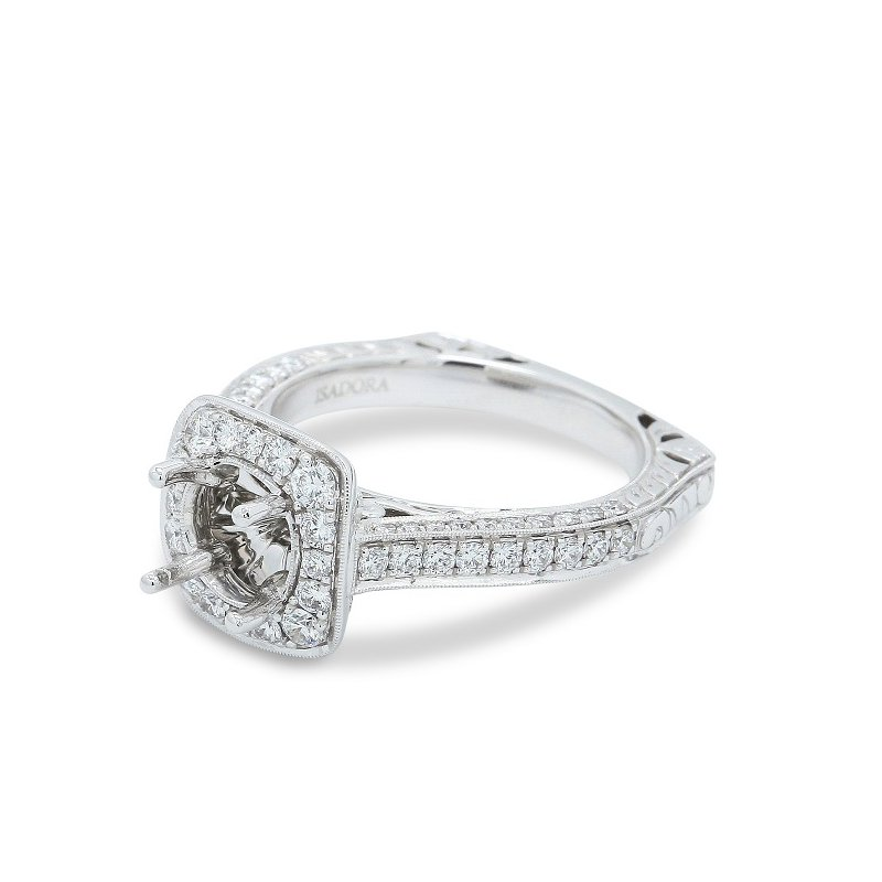 Isadora Square Halo Engagement Ring Setting