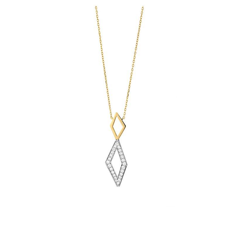 Facet Barcelona Geometric Diamond Pendant 14K