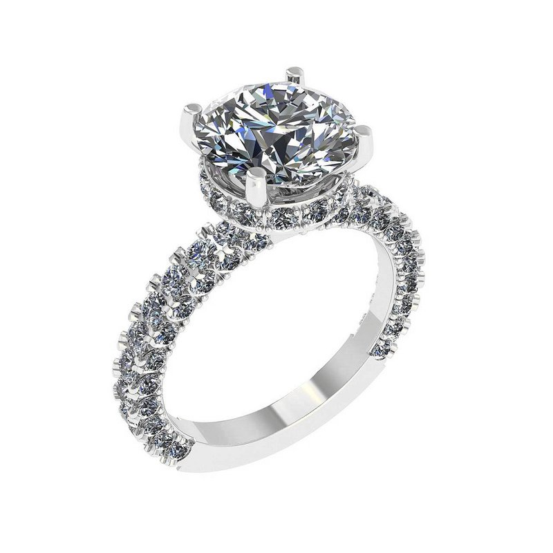 Isadora Hidden Halo Engagement Ring 18KW - Setting Only