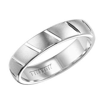 Triton Brush & Plush White Tungsten Engraved Wedding Band