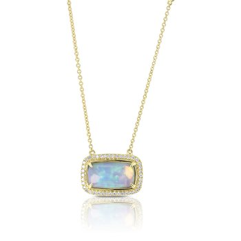 Rectangle Opal & Diamond Halo Necklace