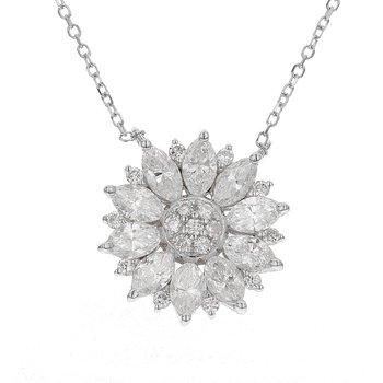 Flower Diamond Pendant 18KW