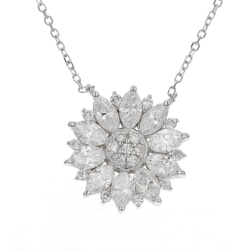 London Gold Designs Flower Diamond Pendant 18KW