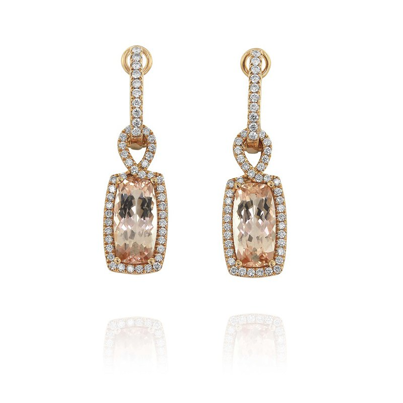 Yael Designs Morganite & Diamond Dangles 18KR